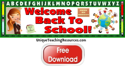 Click here to download this free Back To School bulletin board display banner for your classroom.