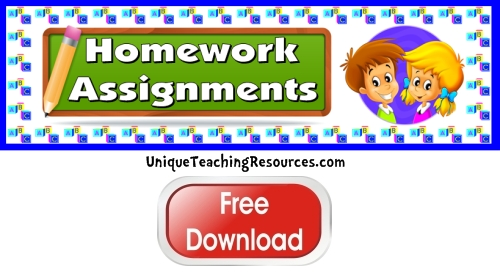 Click here to download this free homework assignments bulletin board display banner.