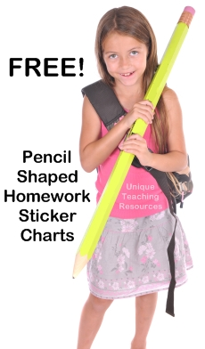 Free Homework Pencil Shaped Sticker Charts Download