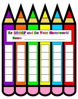 Free Homework Pencils Sticker Chart Elementary School Students