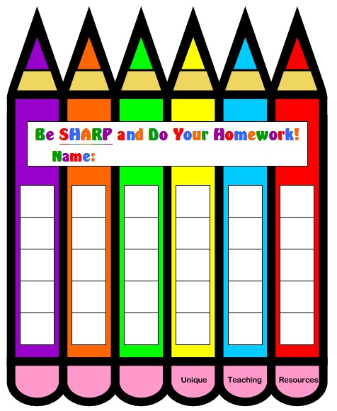 Free Homework Sticker Chart Templates For Teachers