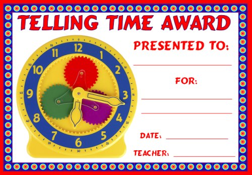 Free Math Telling Time Award Certificate For Elementary School Students