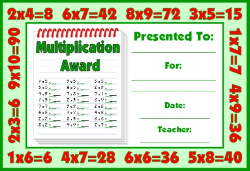 Free Multiplication Award Certificate For Students