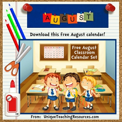 Free Printable August Classroom Calendar For School Teachers