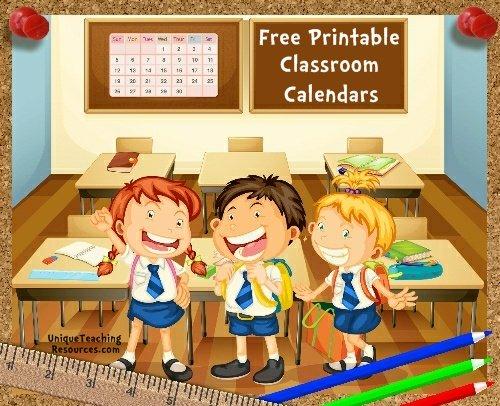 Free Printable Classroom Calendars For School Teachers