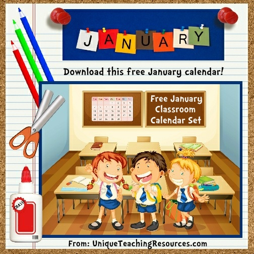 Free Printable January Classroom Calendar For School Teachers