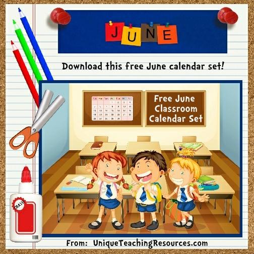 Free Printable June Classroom Calendar For School Teachers