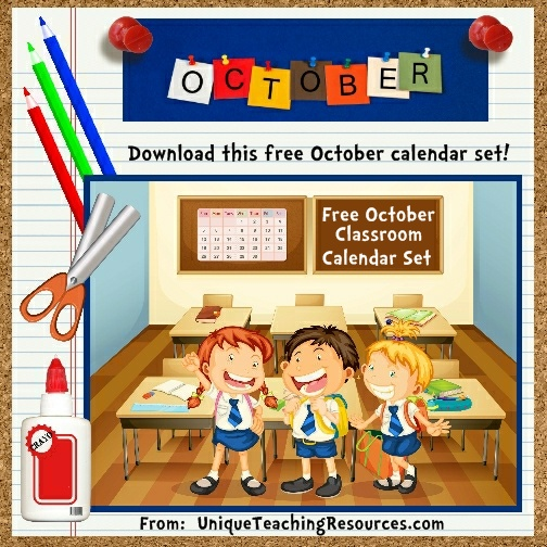 Free Printable October Classroom Calendar For School Teachers