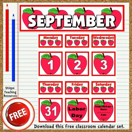 Download this free September calendar set from Unique Teaching Resources.  Perfect for pocket charts!