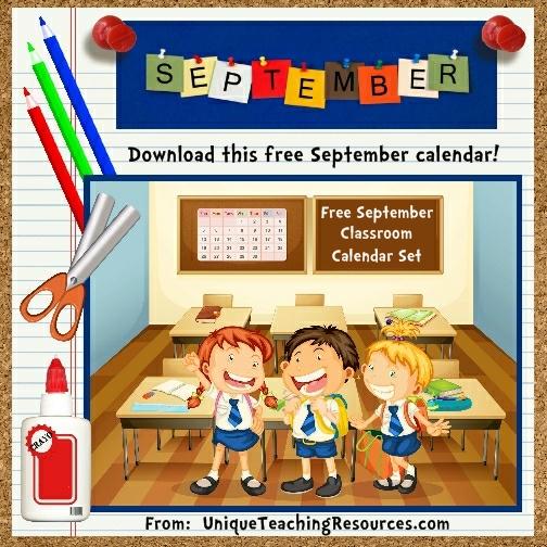 Free Printable September Classroom Calendar For School Teachers