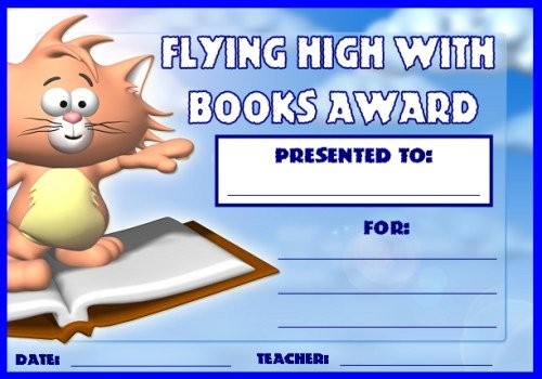 Free Reading Award Certificate Flying High With Books