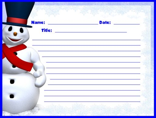 Frosty The Snowman Christmas and Winter Creative Writing Printable Worksheets