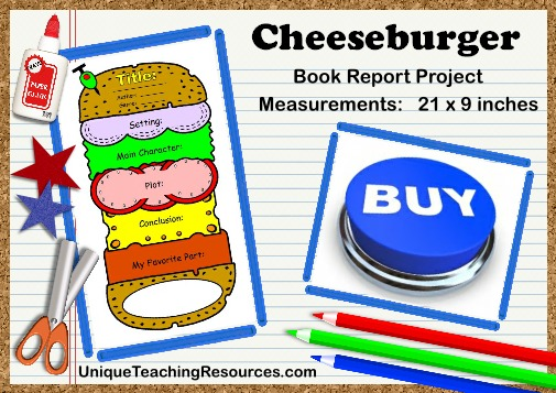 Fun Ideas For Book Report Projects:  Cheeseburger Sandwich Templates