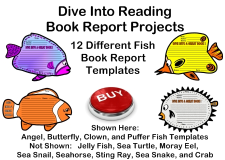 Fun Dive Into Reading Fish Book Report Project Templates