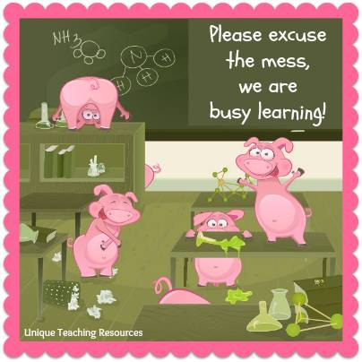Funny quote about messy classrooms - Please excuse the mess, we are busy learning.