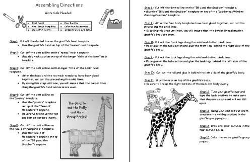 The Giraffe and the Pelly and Me Directions Worksheet for Projects