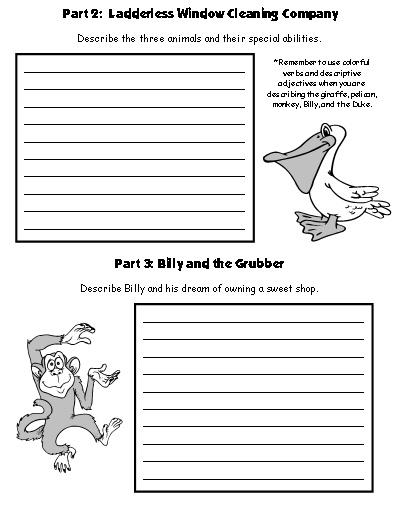First Draft Worksheets The Giraffe and the Pelly and Me