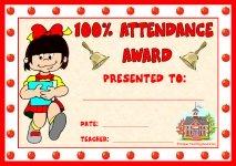 Girl 100 Percent Attendance Award