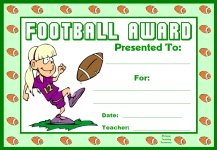 Football PE Award Certificate For Girl Students