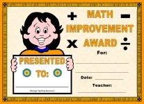 Math Improvement Award For Girl Elementary School Students