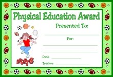 Physical Education PE Award Certificate For Girl Students