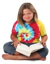 Elementary School Girl Loves Reading Books