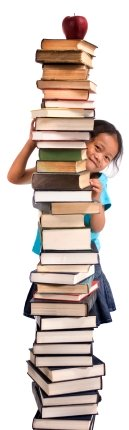 Young Girl Reading Stack of Books