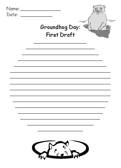 Groundhog Day First Draft Creative Writing Prompts Printable Worksheet
