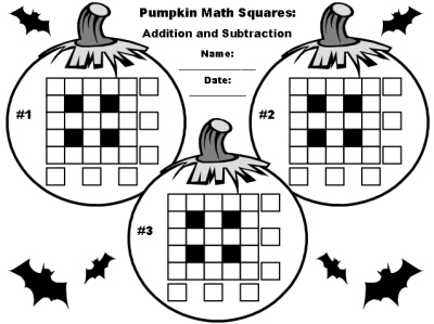 Halloween Math Addition and Subtraction Puzzles Printable Worksheets