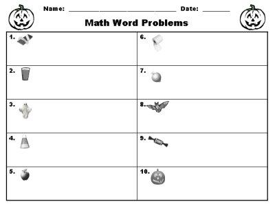 Halloween Math Word Problems Printable Worksheet
