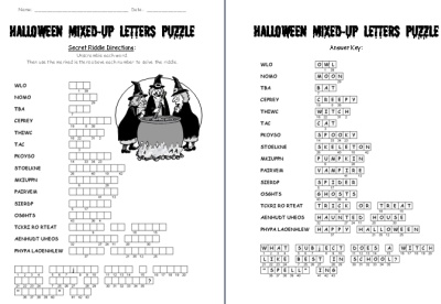 Halloween Mixed Up Letters Puzzle