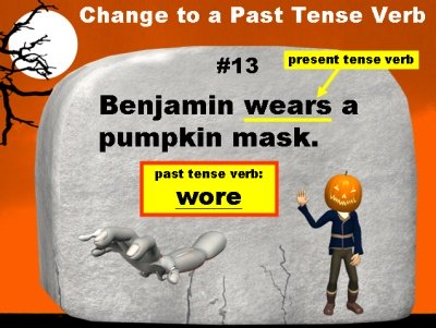 Halloween Theme Powerpoint Presentation and Lesson Plans for Verbs and Parts of Speech