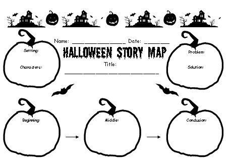 Halloween Creative Writing Lesson Plans Story Map Printable Worksheet