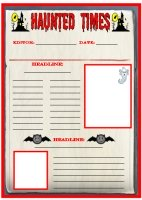 Halloween Haunted Times Newspaper Writing Templates