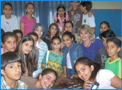 Heidi McDonald Teacher Students In Bahrain Bayan School