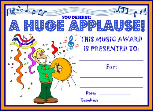 Huge Applause Music Award Certificate for Children