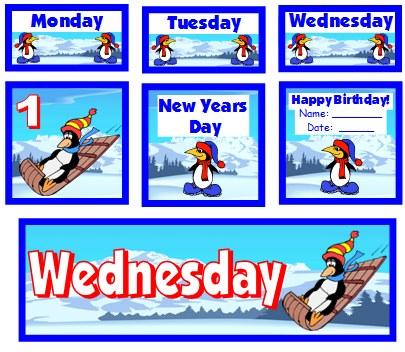 January Penguin Calendar Set For Elementary School Teachers Using Pocket Charts