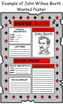 John Wilkes Booth and President Abraham Lincoln Wanted Poster Biography Projects