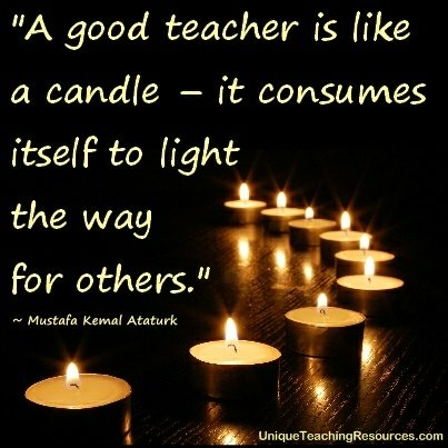 A good teacher is like a candle - it consumes itself to light the way for others.  Mustafa Kemal Ataturk