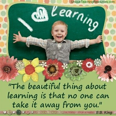 Quotes About Teaching - The beautiful thing about learning is that no one can take it away from you. B.B. King