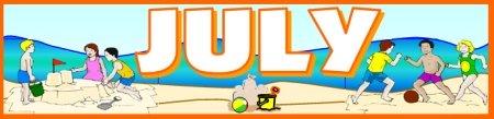 July Calendar Set for Bulletin Board Displays for Summer