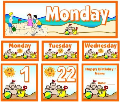 July Calendar Set for Pocket Charts