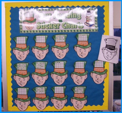 Leprechaun Reading Sticker Charts Bulletin Board Display for March and St. Patrick's Day