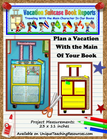 Creative Book Report Project Ideas - Main Character Vacation Suitcase
