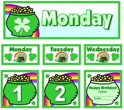 March and St. Patrick's Day Calendar Set for Pocket Charts Numbers and Days of Week