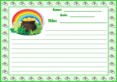 Finding a Pot of Gold St. Patrick's Day Creative Writing Stationery Printable Worksheets
