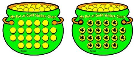 Pot of Gold St. Patrick's Day Sticker Chart Set