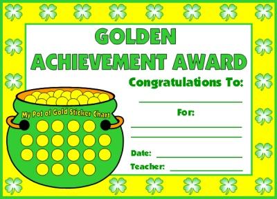 Golden Achievement Award Certificate St. Patrick's Day Theme Pot of Gold