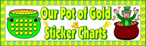 Pot of Gold St. Patrick's Day Bulletin Board Display Sticker Chart Set