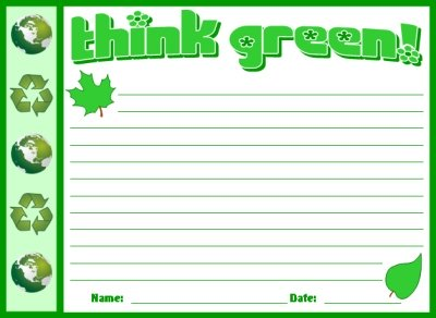 Think Green Recycling Stationary and Printable Worksheets